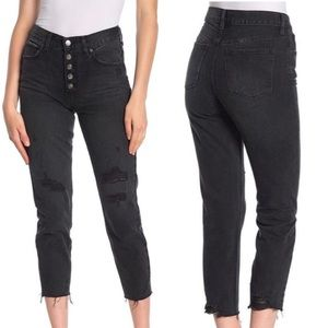 Free People Black Raw Hem Button Fly Jeans 30